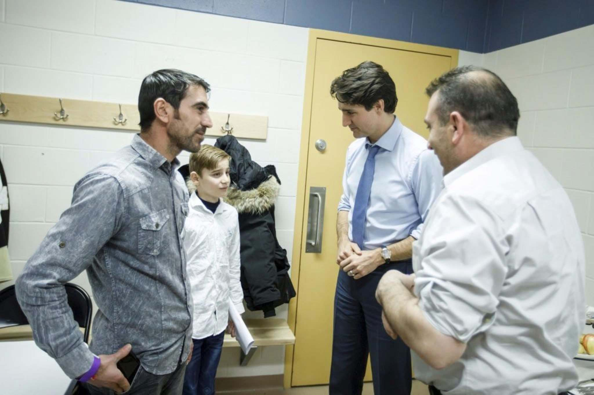 SUPPLIED   Emad Mishko Tamo, the Yazidi boy who spent years in ISIS captivity, got a brief meeting with Prime Minister Justin Trudeau Wednesday night in Winnipeg. Tamo, who's been trying to meet the prime minister since January, has previously said he wants to become a spokesman for other persecuted Yazidi children. In photo with Trudeau is Emad Mishko Tamo's uncle, Hadji Tamo, left. The other man is not identified.